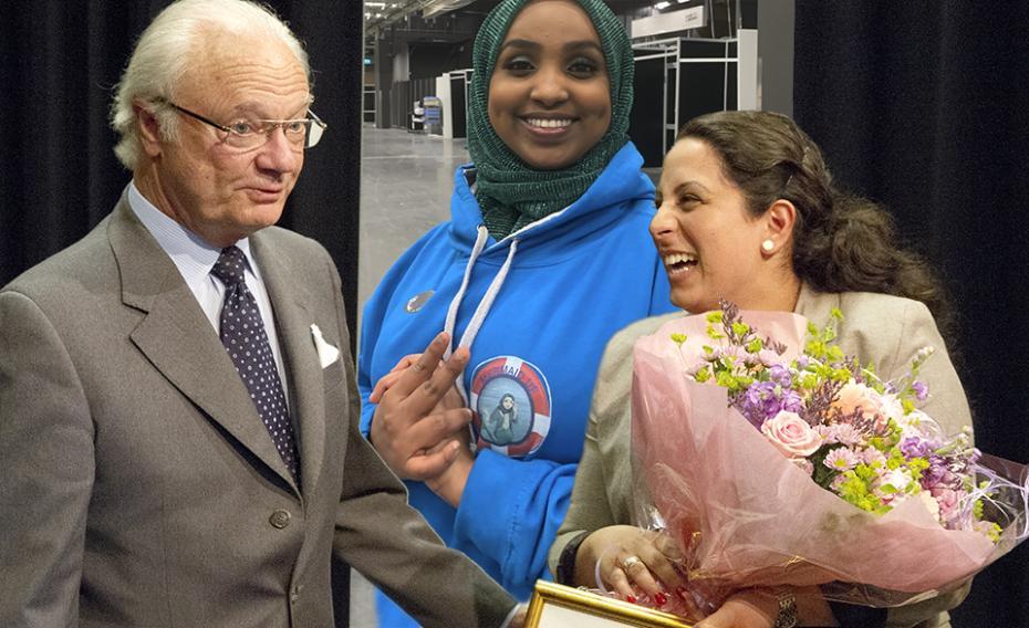 För sex år sedan var Petra Elio Serti given för kung Carl XVI Gustafs ledarestipendium. Nu funderar monarken på att ge ett av årets stipendier till simläraren och entreprenören Muna Idow, som tog studenten i somras. Bilden är dock ett montage.