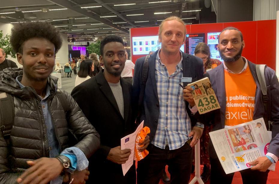 Abdi Ilmi, Jibril Hirsi, Martin Schibbye och Abdifatah Aydid hade mycket att prata om.