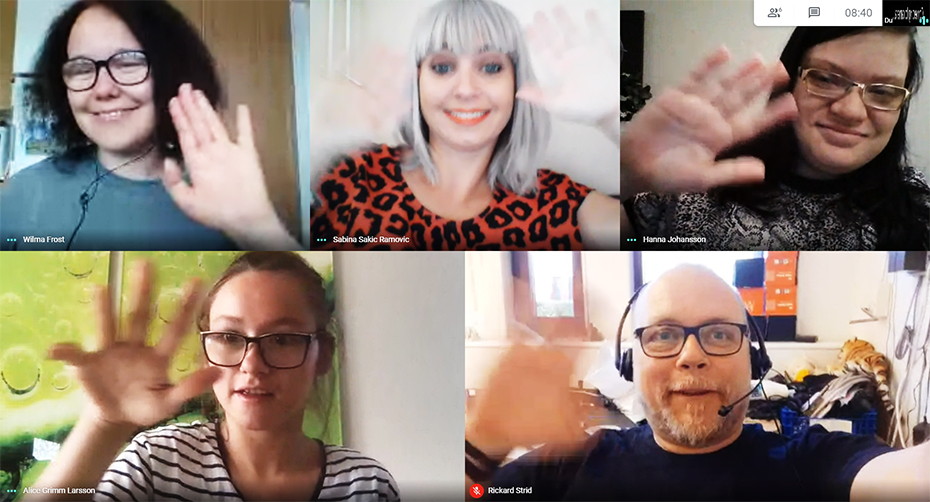 Här på bilden ser du oss som ingår i redaktionen för Angeredswebben. Innan vi börjar jobba så har vi möte i Google Meet för att gå igenom vad som behöver göras.